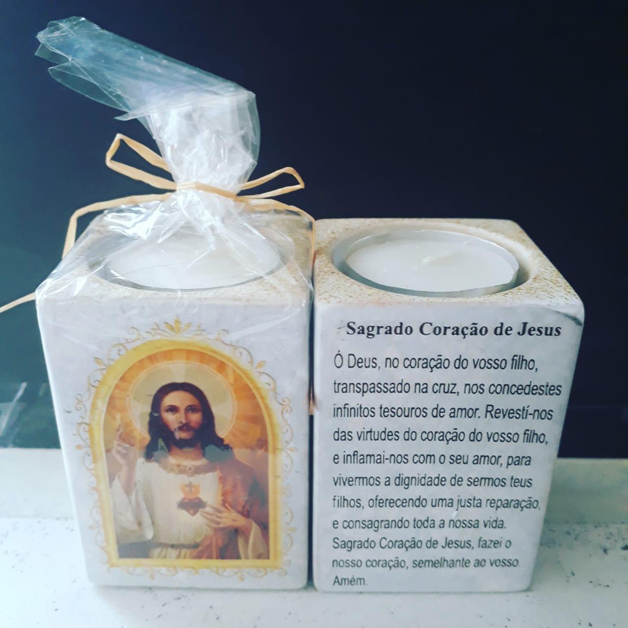 P160 - Suporte Vela 8cm Sagrado Coração de Jesus c/ Oração  - VindVedShop - Distribuidora Catolica