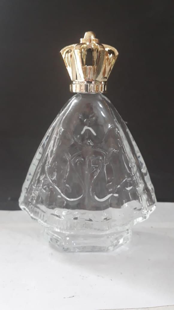 P201 - Vidro p/ Agua Benta Corpo Nossa Senhora Aparecida 11cm 60ml Transparente  - VindVedShop - Distribuidora Catolica