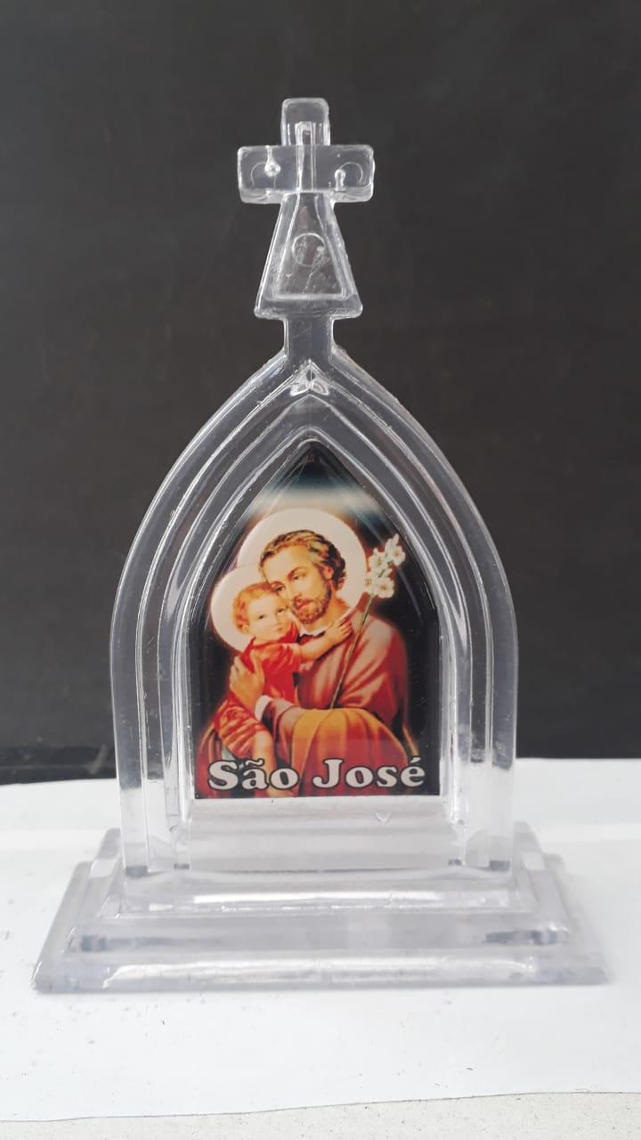 P23 - Capela Plastico 13cm Transparente Santos Variados  - VindVedShop - Distribuidora Catolica