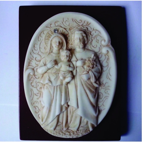 P49 - Sagrada Família 13cm Resina Pedestal  - VindVedShop - Distribuidora Catolica