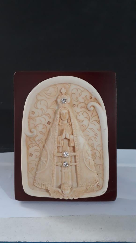 P61 - Nossa Senhora Aparecida 10cm Resina Pedestal  - VindVedShop - Distribuidora Catolica