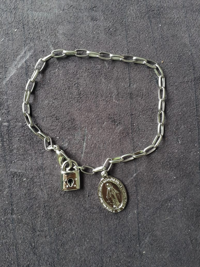 PUL03 - Cadeia Aço para Consagração Nossa Senhora das Graças 22cm c/ Cadeado - Pulseira  - VindVedShop - Distribuidora Catolica