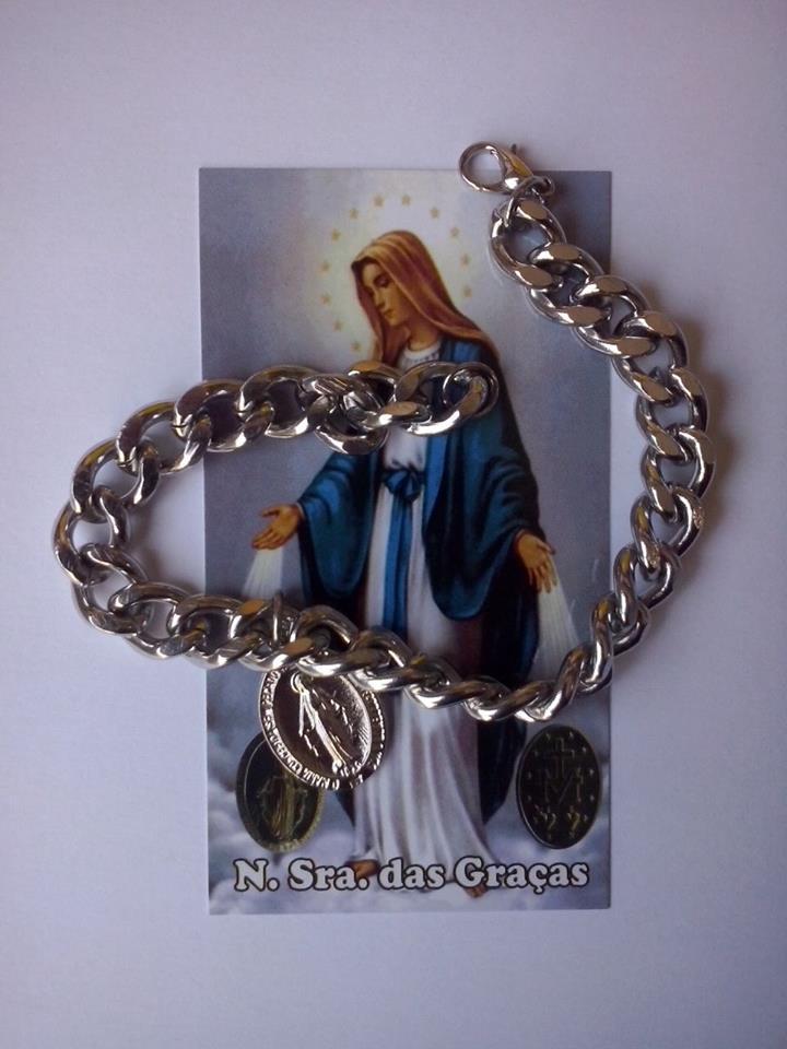 PUL05 - Cadeia Aço para Consagração Nossa Senhora das Graças 22cm c/ Cadeado - Pulseira 25mm (I17)  - VindVedShop - Distribuidora Catolica