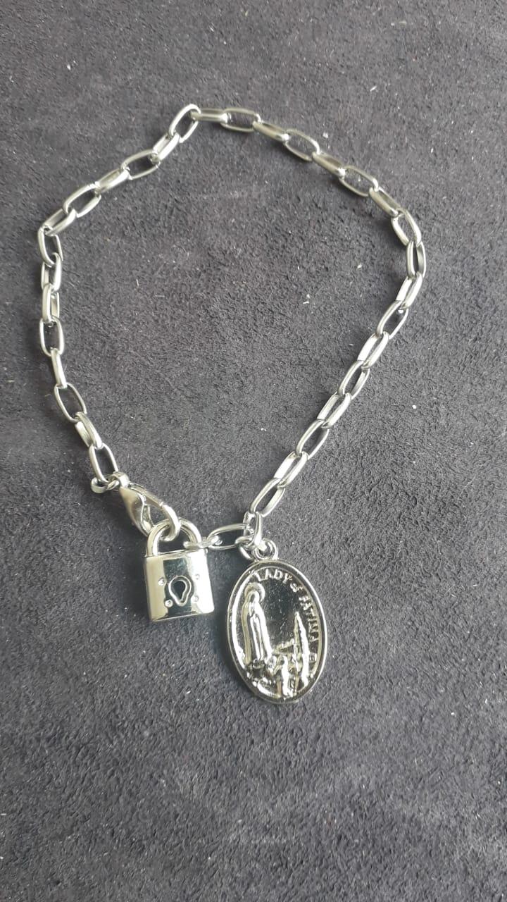 PUL07 - Cadeia Aço para Consagração Nossa Senhora de Fatima 22cm c/ Cadeado - Pulseira  - VindVedShop - Distribuidora Catolica