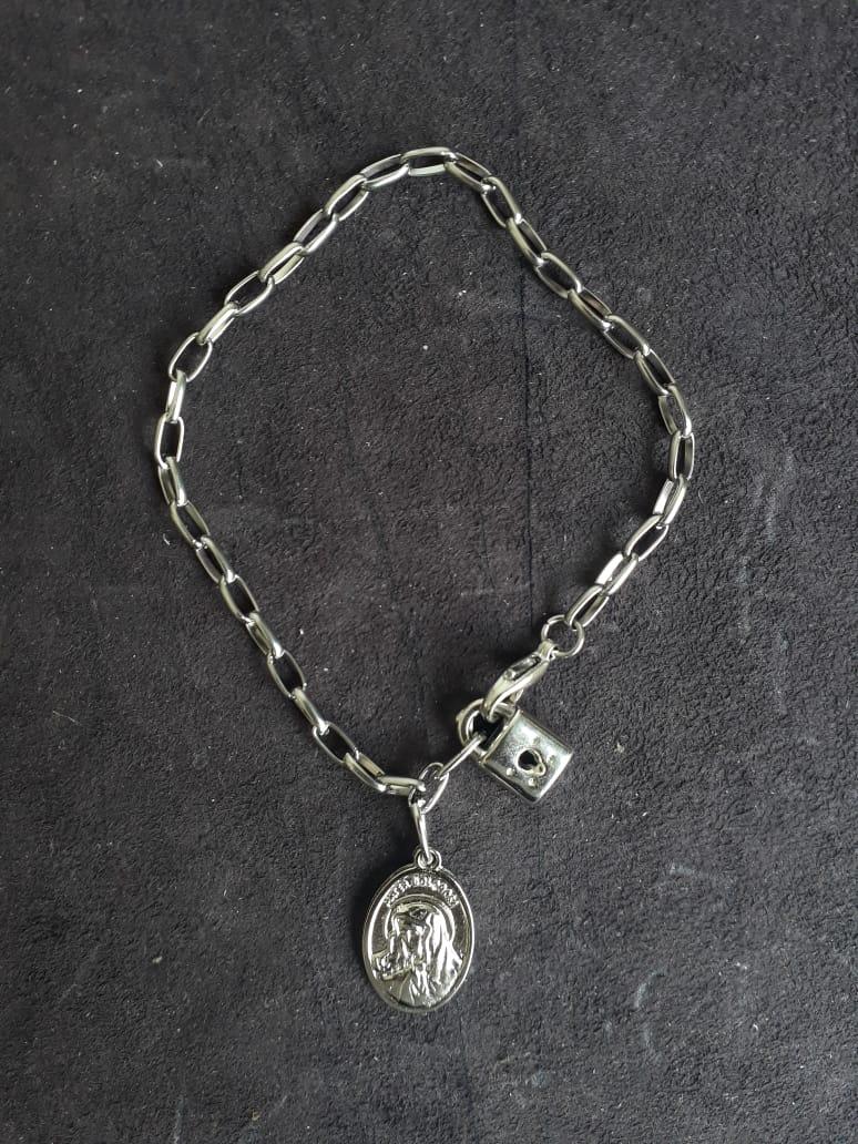 PUL59 - Cadeia Aço para Consagração Nossa Senhora das Dores 22cm c/ Cadeado - Pulseira  - VindVedShop - Distribuidora Catolica