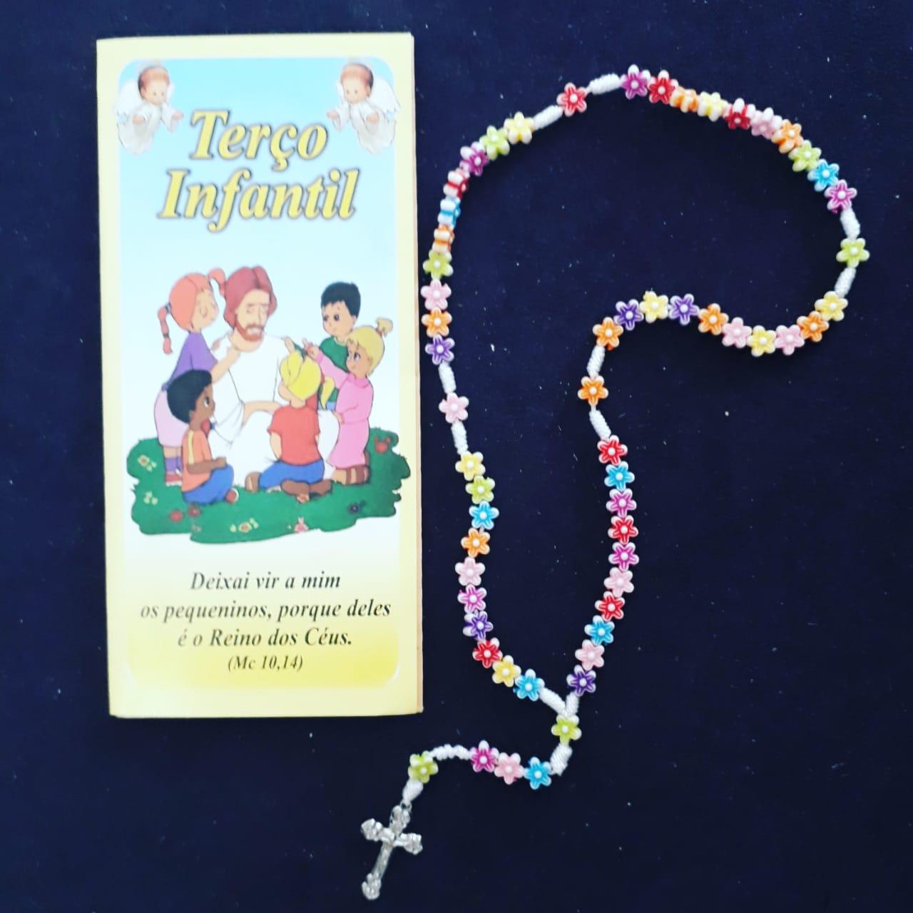 T148 - Terço Infantil Flor c/ Oração  - VindVedShop - Distribuidora Catolica