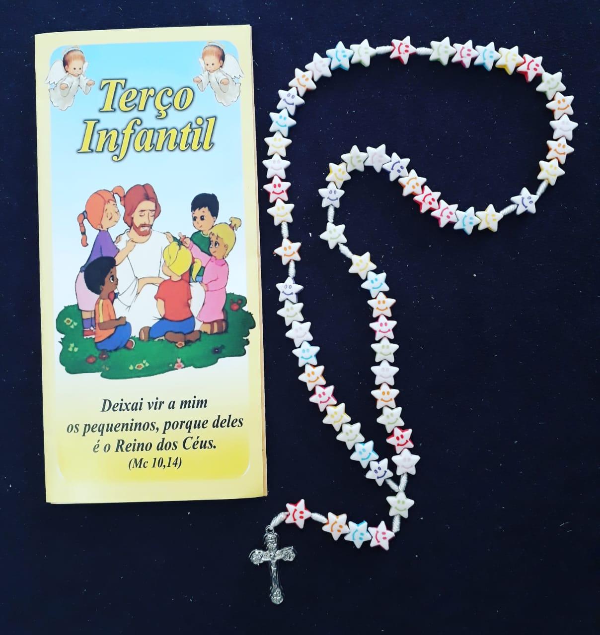 T153 - Terço Infantil Estrela Smile c/ Oração  - VindVedShop - Distribuidora Catolica