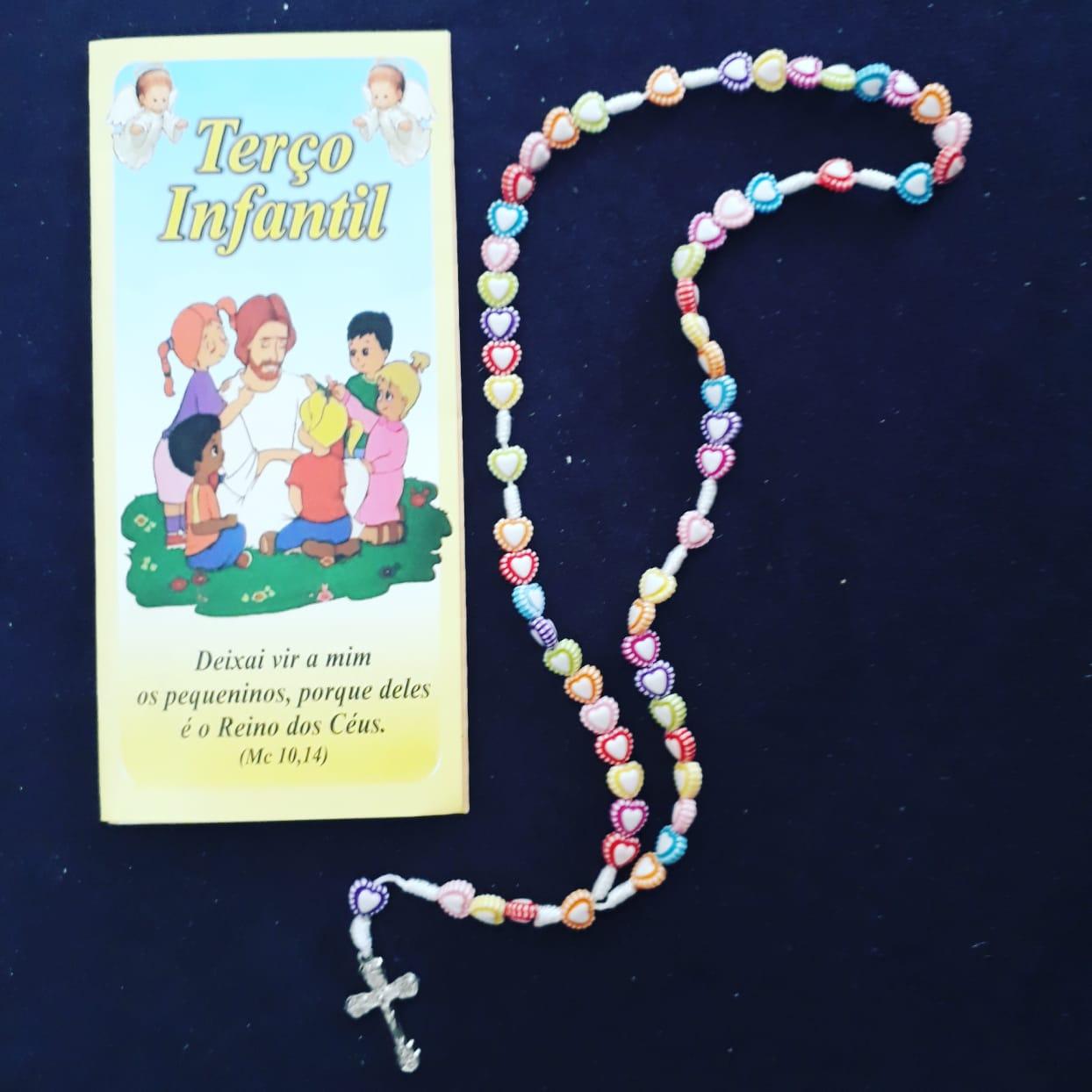T181 - Terço Infantil Coração c/ Oração  - VindVedShop - Distribuidora Catolica