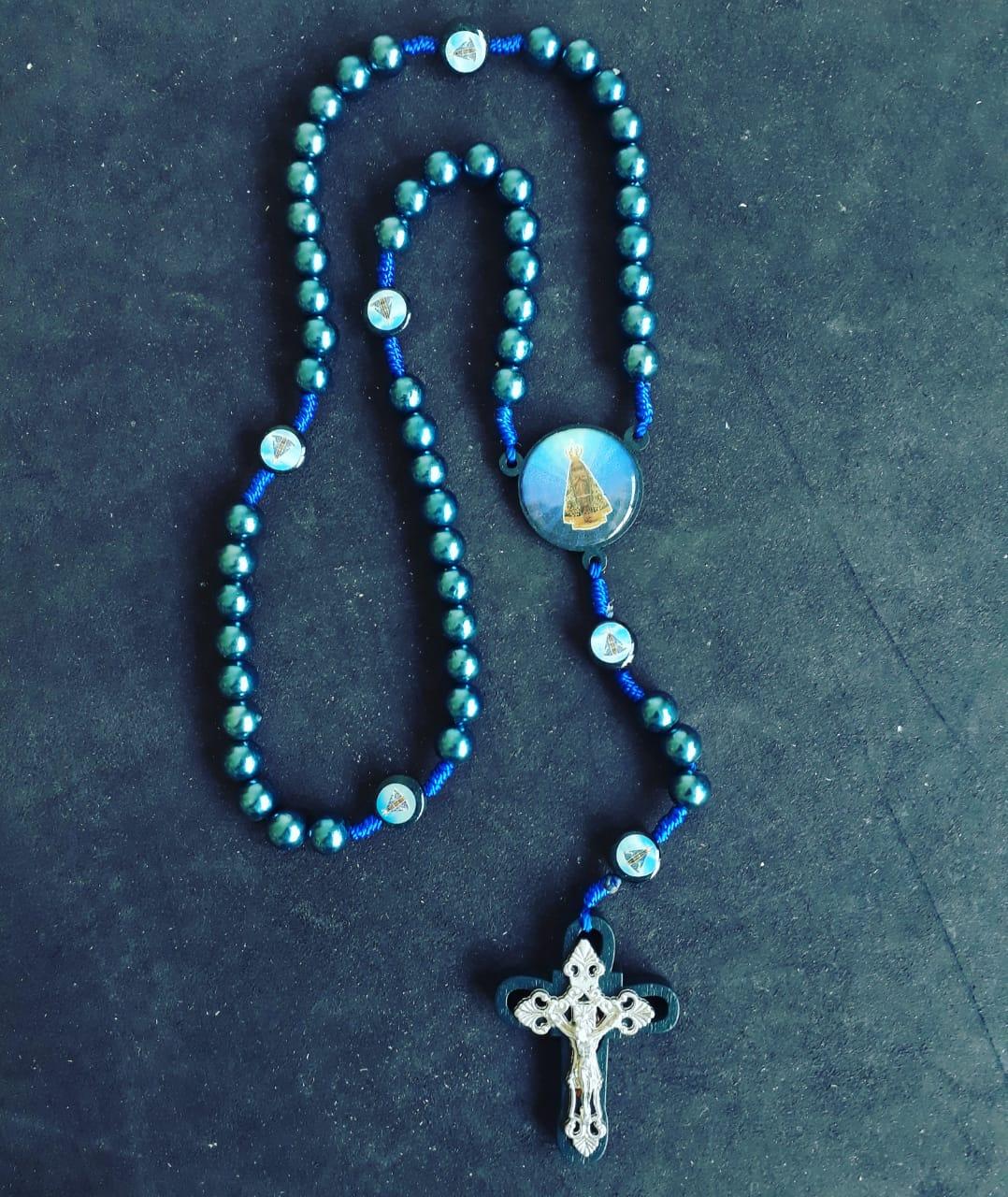 T191 - Terço N. Sra. Aparecida 10mm Azul  - VindVedShop - Distribuidora Catolica