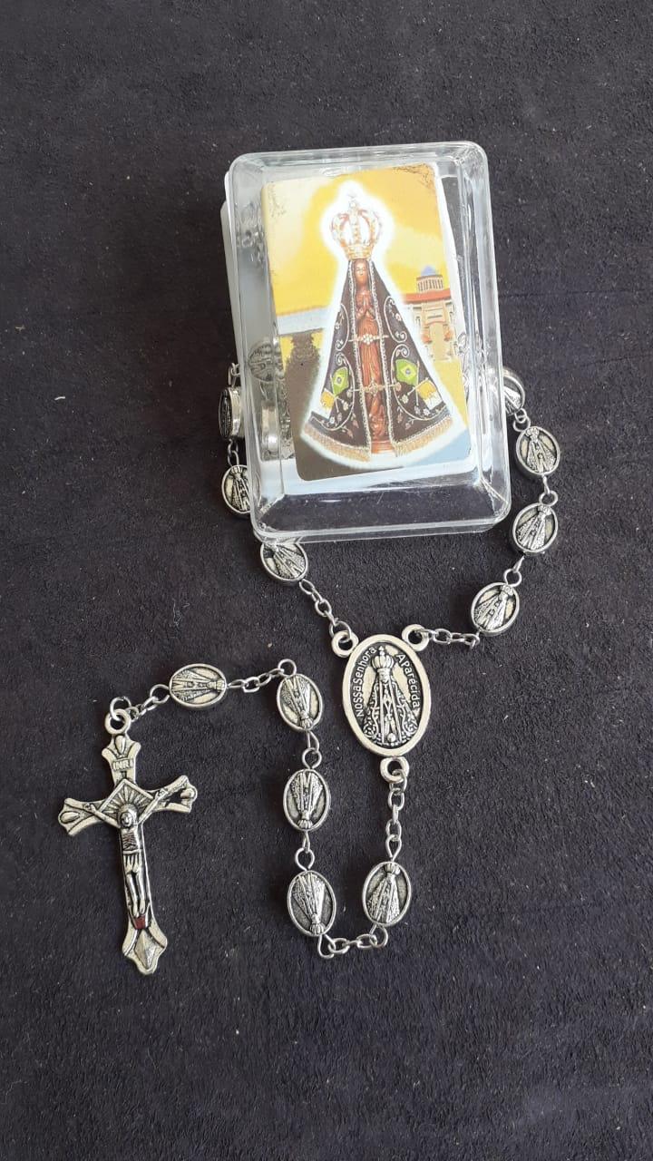 TL35 - Terço Nossa Senhora Aparecida 12mm Niquel  - VindVedShop - Distribuidora Catolica