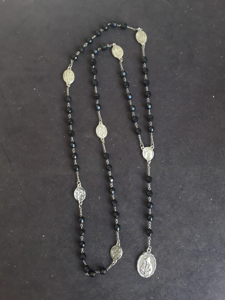 TL42 - Terço das Setes Dores da Virgem Maria 8mm Plastico Facetado Preto Niquel  - VindVedShop - Distribuidora Catolica