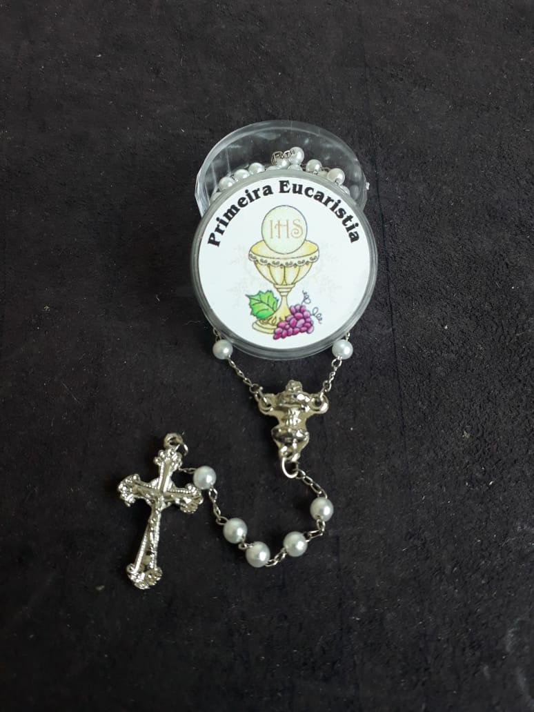 TL56 - Terço Perola Branca c/ Cálice Eucaristia 3mm  - VindVedShop - Distribuidora Catolica