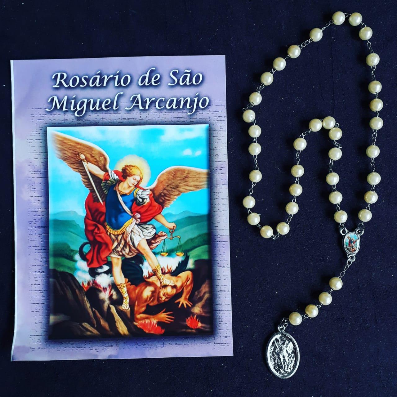 TR02 - Rosário São Miguel Arcanjo Perola Champanhe 5mm c/ Oração  - VindVedShop - Distribuidora Catolica