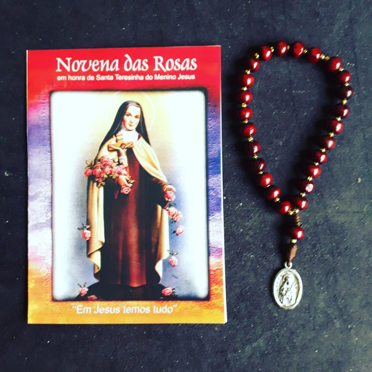 TR06 - Novena das Rosas Madeira 8mm Santa Teresinha Menino Jesus c/ Oração  - VindVedShop - Distribuidora Catolica