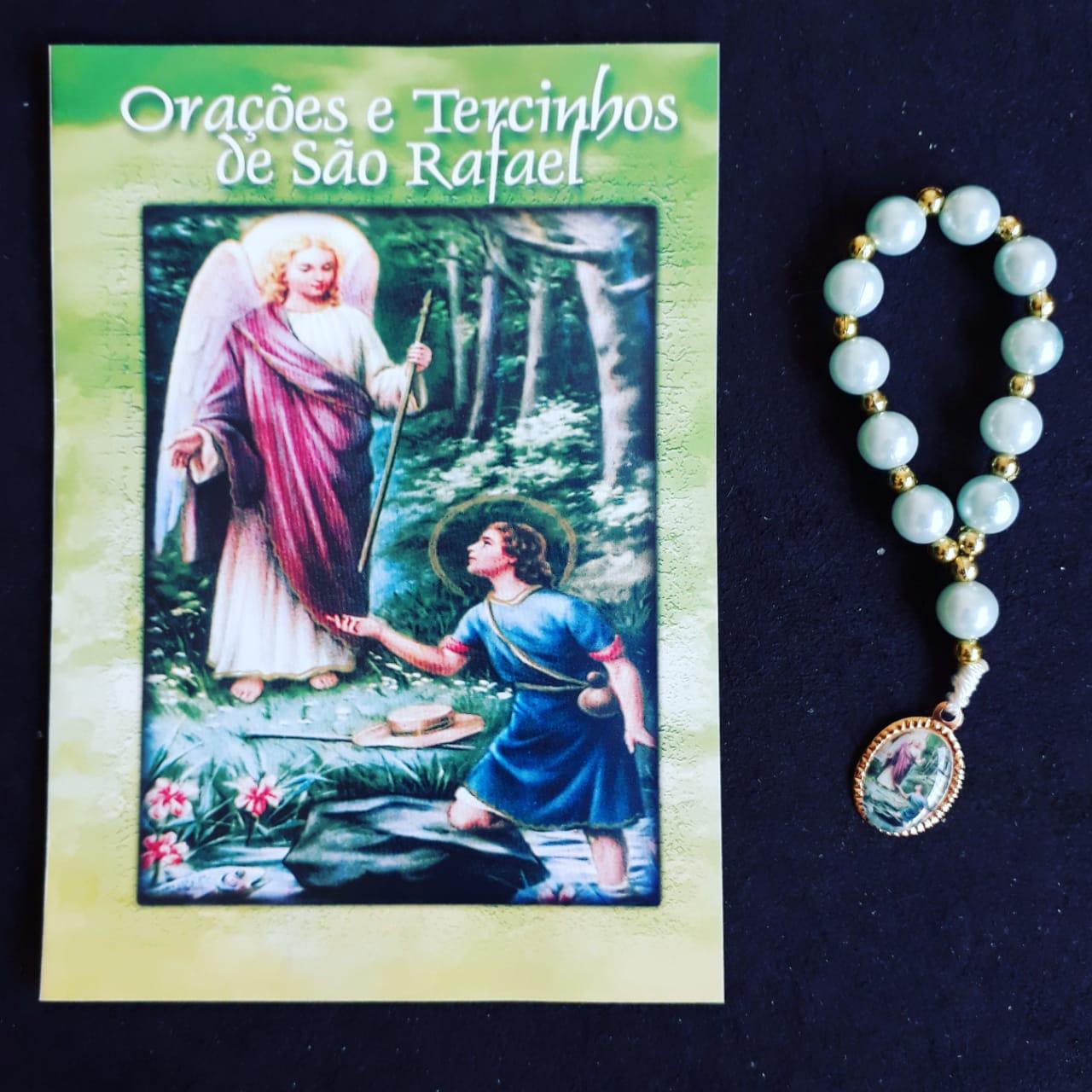 TR11 - Orações e Tercinhos de São Rafael c/ Dezena Perola 6mm  - VindVedShop - Distribuidora Catolica