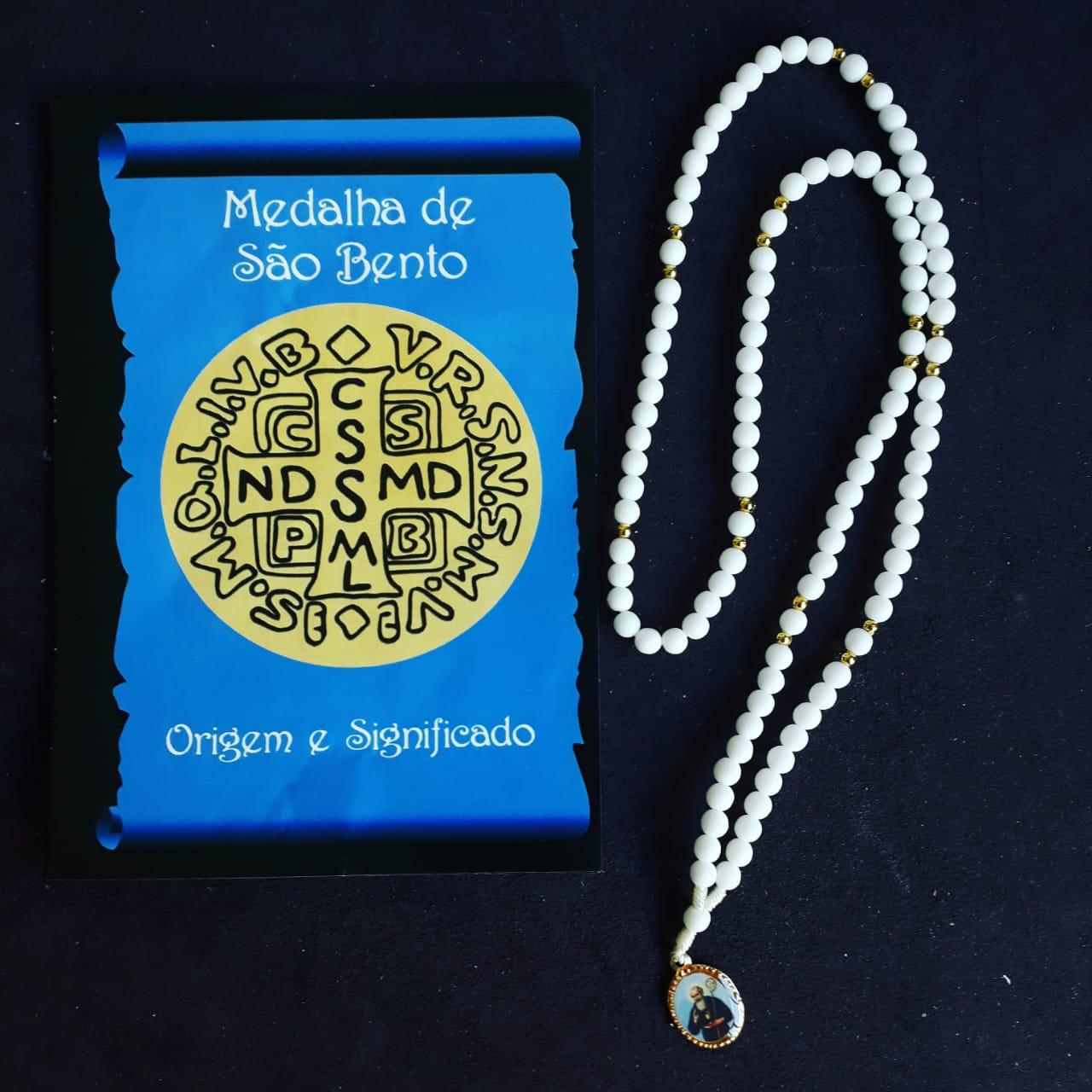 TR14 - Terço Medalha São Bento Plastico 5mm c/ Oração  - VindVedShop - Distribuidora Catolica
