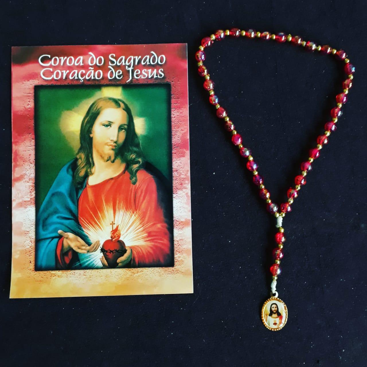 TR20 - Coroa do Sagrado Coração de Jesus Plastico 5mm c/ Oração  - VindVedShop - Distribuidora Catolica
