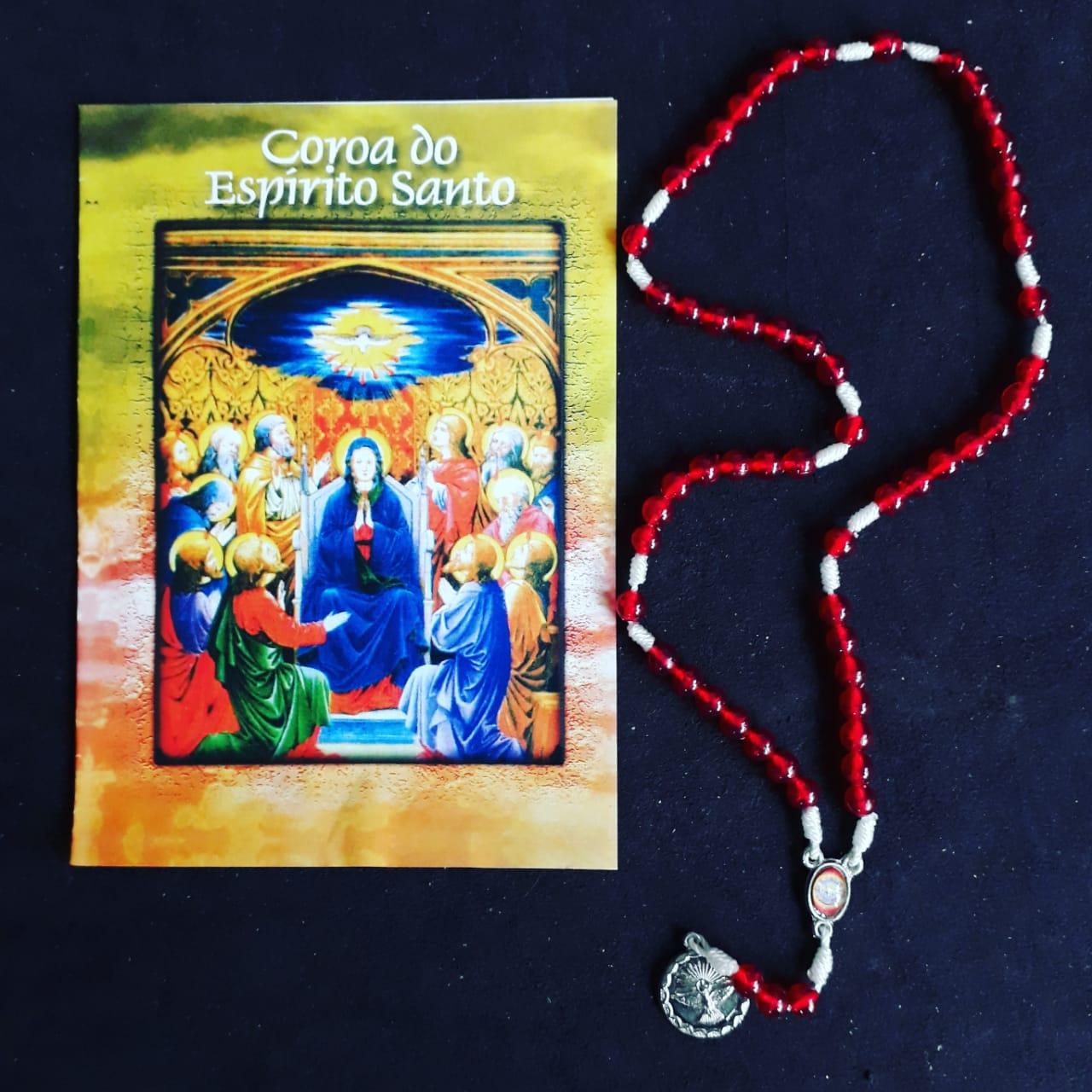 TR21 - Coroa do Espirito Santo Plastico5mm c/ Oração  - VindVedShop - Distribuidora Catolica