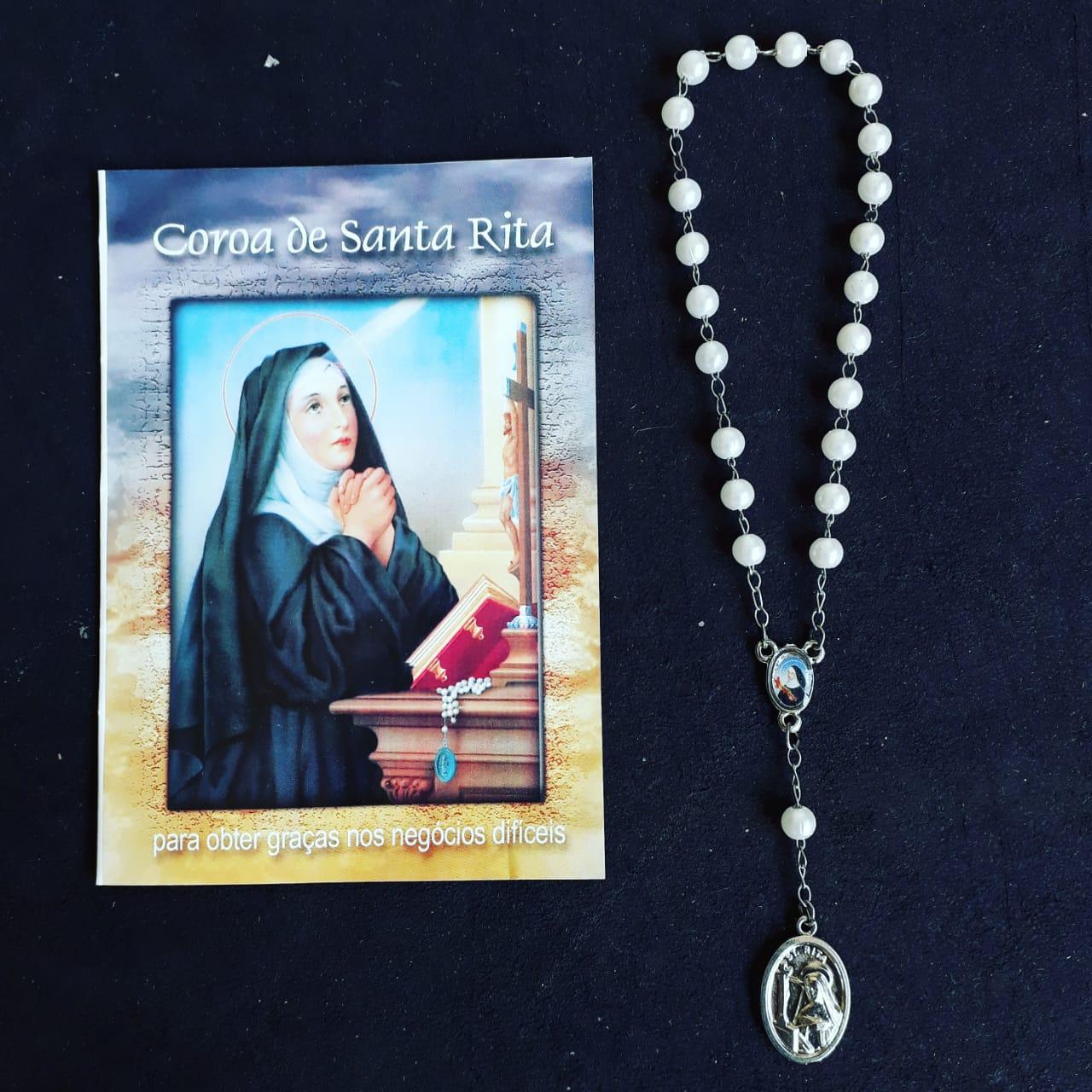 TR22 - Coroa de Santa Rita Perola 6mm c/ Oração  - VindVedShop - Distribuidora Catolica