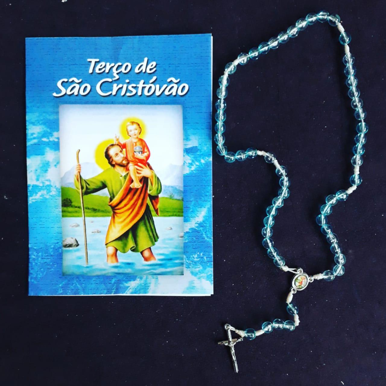 TR24 - Terço de São Cristovão Plastico 5mm c/ Oração  - VindVedShop - Distribuidora Catolica