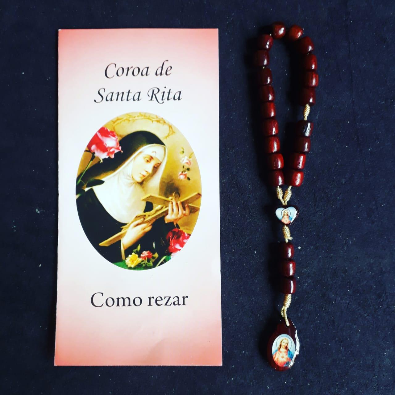 TR25 - Coroa Santa Rita de Cassia Madeira 6mm c/ Oração  - VindVedShop - Distribuidora Catolica