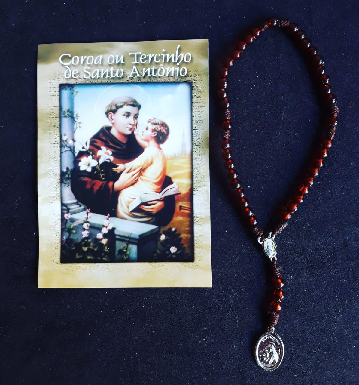 TR26 - Coroa ou Tercinho de Santo Antonio Cordão Plastico 5mm c/ Oração  - VindVedShop - Distribuidora Catolica