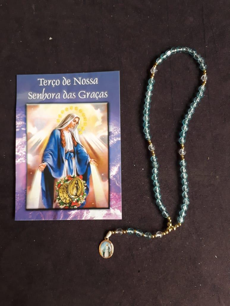 TR31 - Terço Nossa Senhora das Graças Plastico 5mm c/ Oração  - VindVedShop - Distribuidora Catolica