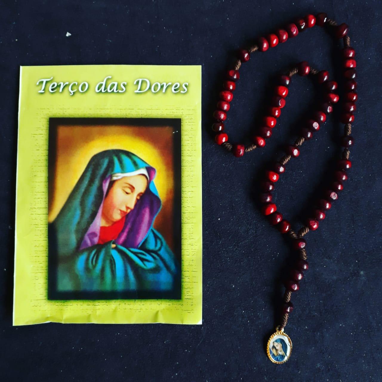 TR33 - Terço das Dores Madeira 6mm c/ Oração  - VindVedShop - Distribuidora Catolica