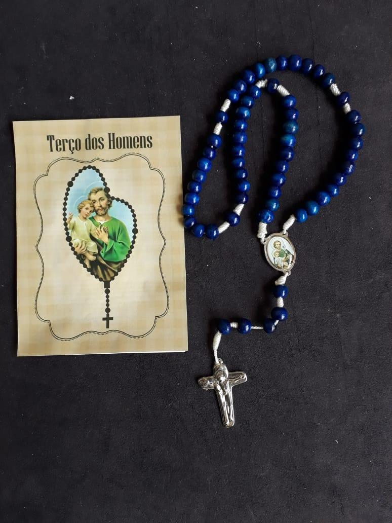 TR41 - Terço dos Homens 8mm Madeira 7mm Azul c/ Oração  - VindVedShop - Distribuidora Catolica