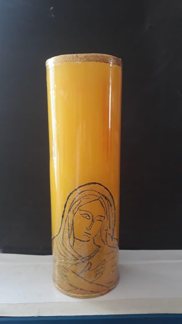 VL06 - Vela Altar Amarela Imaculado Coração de Maria 70mmX220mm  - VindVedShop - Distribuidora Catolica
