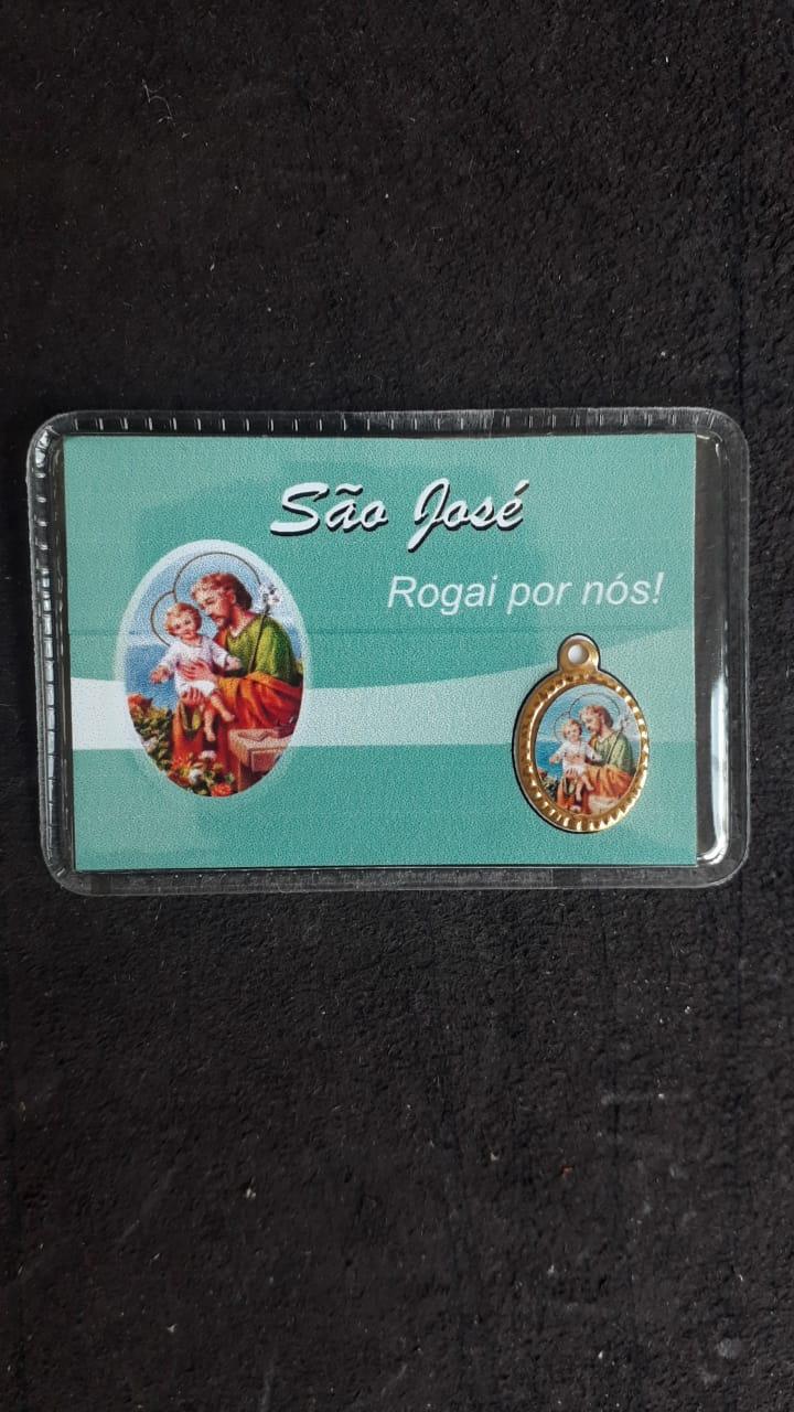 WE102 - Carteirinha c/ Medalha Santos Variados  - VindVedShop - Distribuidora Catolica