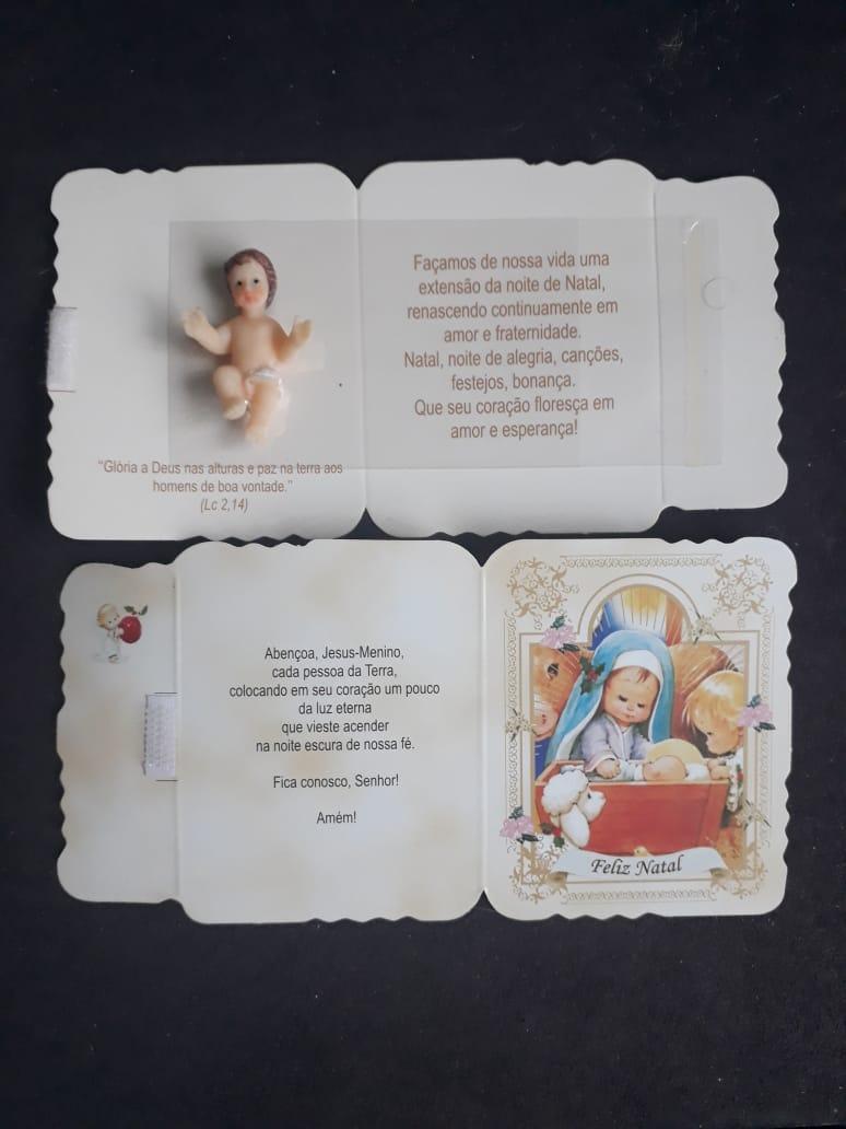 WE13 - Cartão Natal com Menino Jesus 4cm Resina  - VindVedShop - Distribuidora Catolica