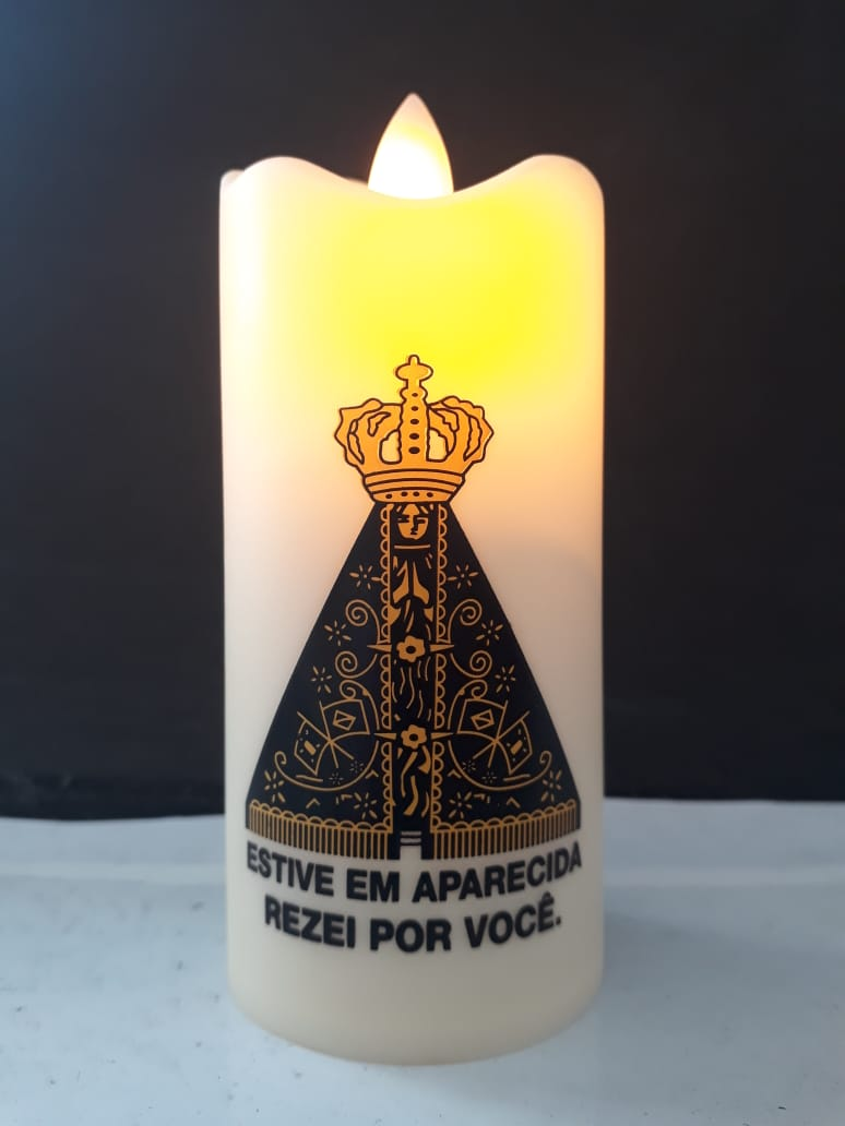 WE174 - Vela Artificial Nossa Senhora Aparecida 11cm  - VindVedShop - Distribuidora Catolica