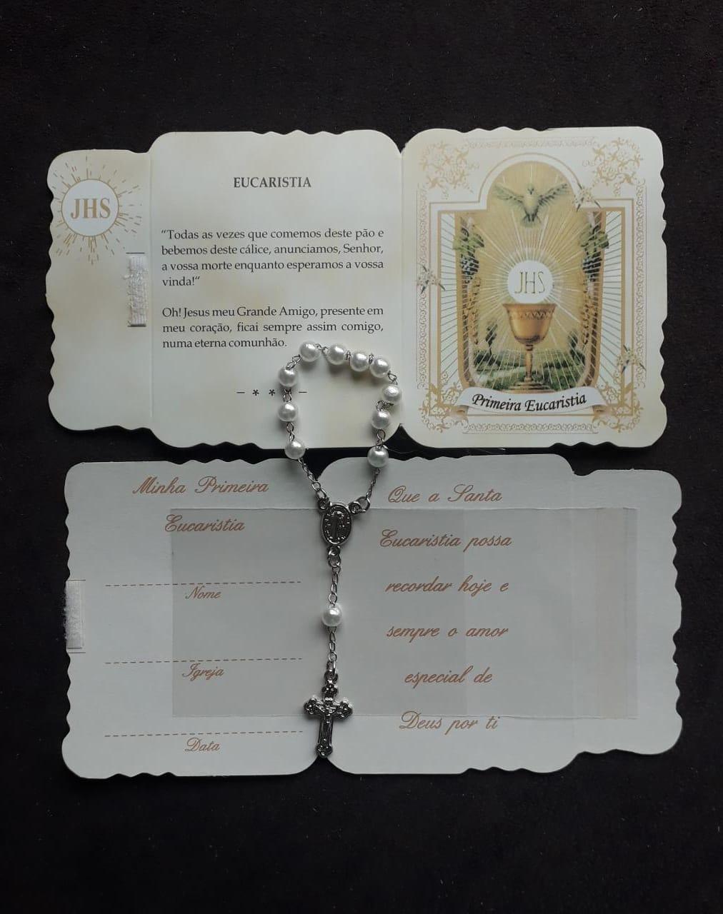 WE50 - Kit Lembrança Cartão 1ª Eucaristia c/ Dezena Perolada e Velcro  - VindVedShop - Distribuidora Catolica