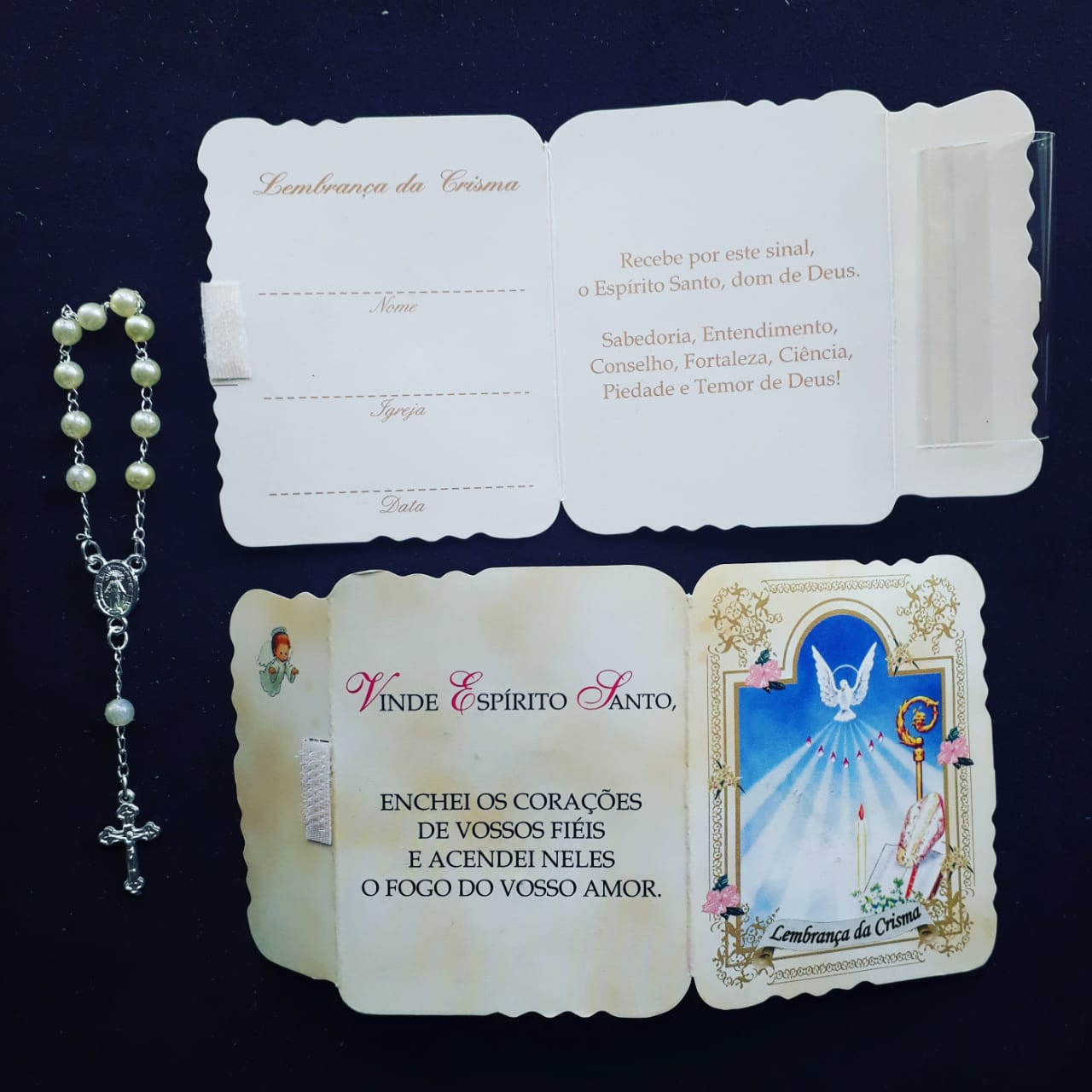 WE80 - Kit Lembrança Cartão Crisma c/ Dezena e Velcro  - VindVedShop - Distribuidora Catolica