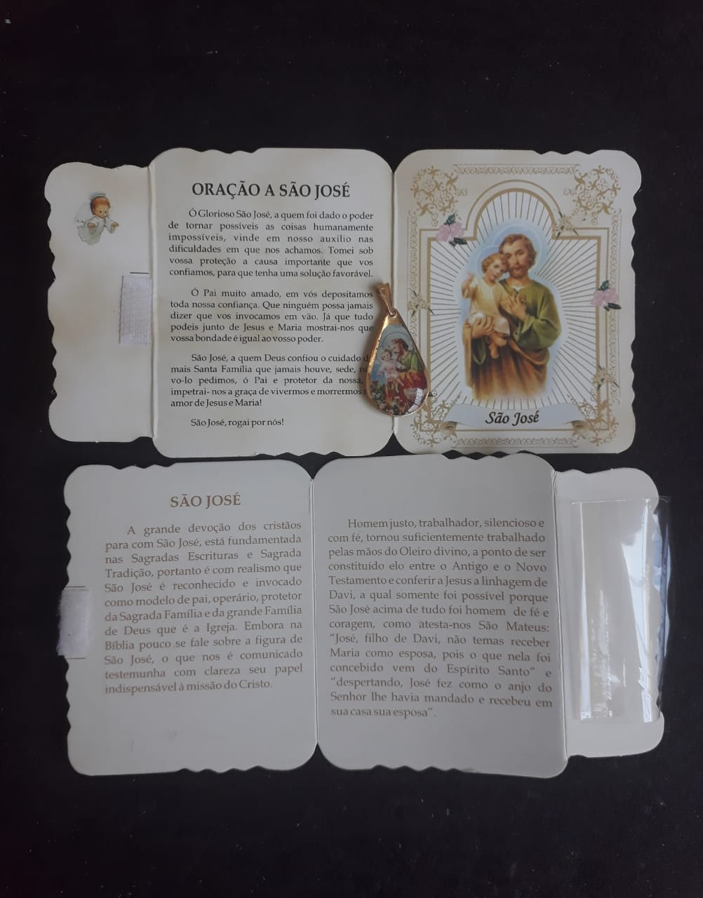 WE94 - Cartão Velcro c/ Medalha Santos Variados  - VindVedShop - Distribuidora Catolica