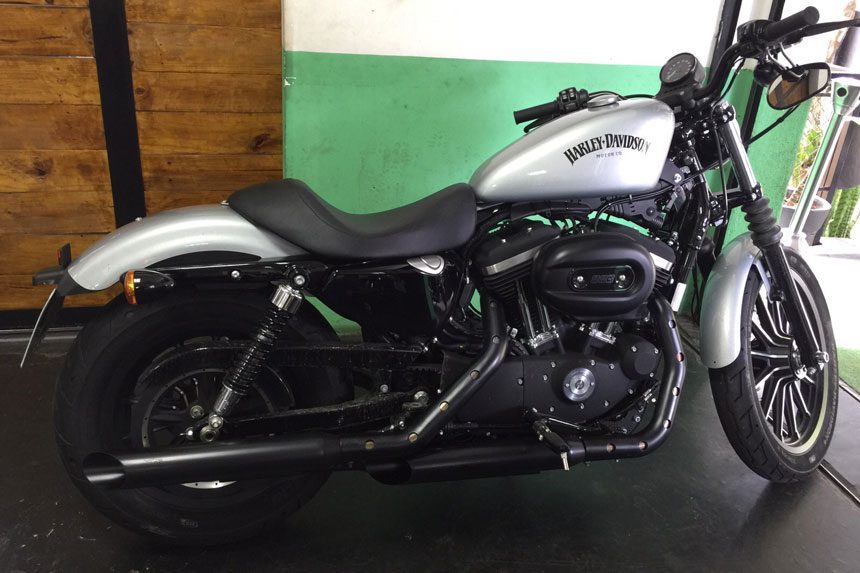 "Ponteira Harley Davidson Sportster Iron 883 3"" corte Lateral - Customer"