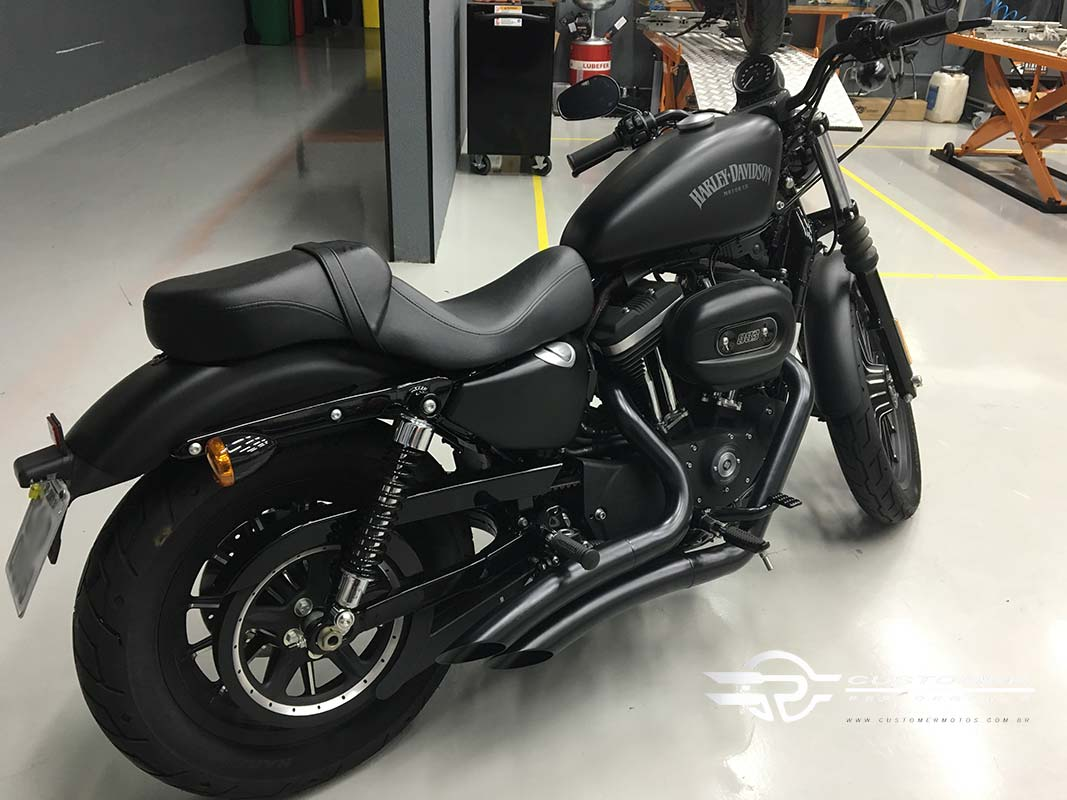 "Escapamento K10 Harley Davidson Sportster Iron 883 até 2013 2"".1/2 Curvo Corte Lateral - Customer"