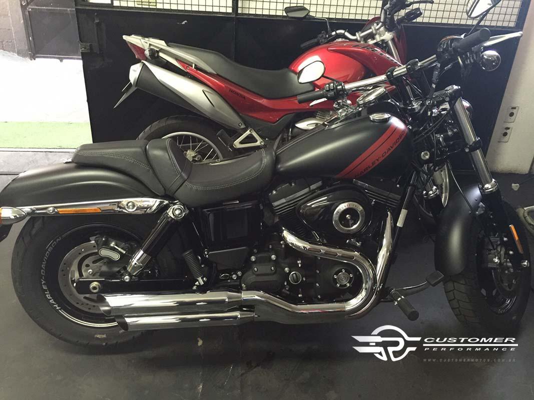 """Ponteira Harley Davidson Dyna Fat Bob 3"""" corte Lateral - Customer"""