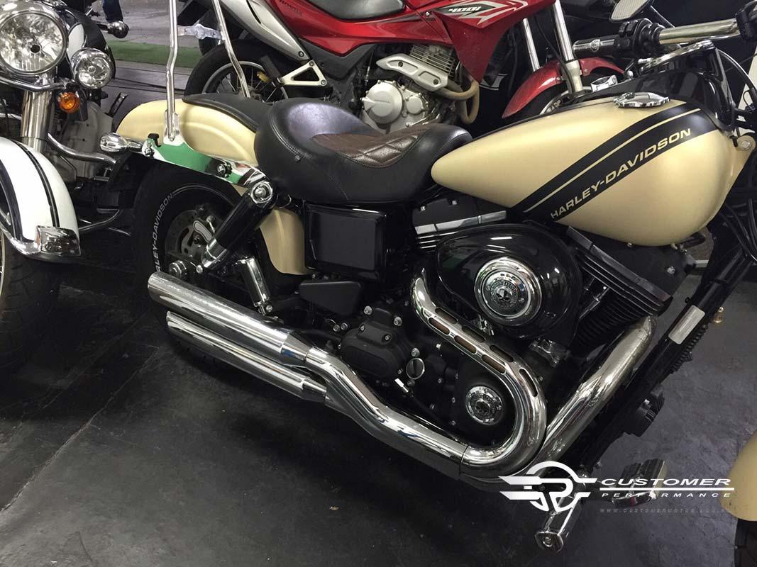 """Ponteira Harley Davidson Dyna Fat Bob 3"""" corte Baixo - Customer"""