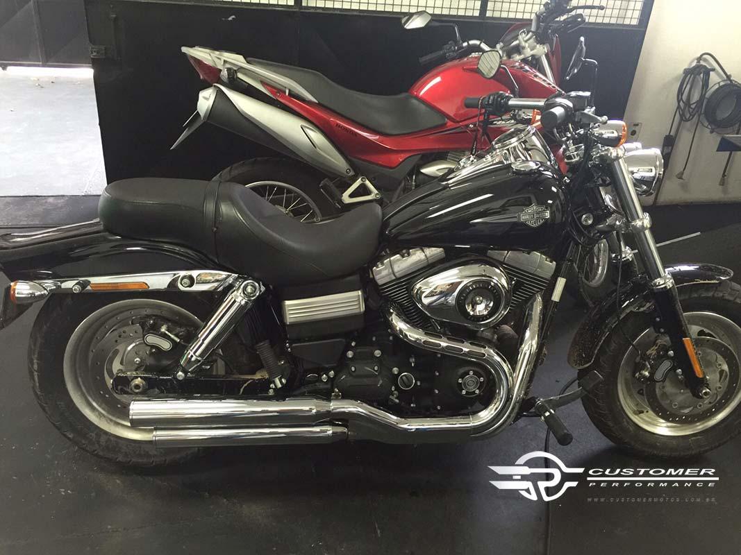 "Ponteira Harley Davidson Dyna Fat Bob 3"" corte Reto - Customer"