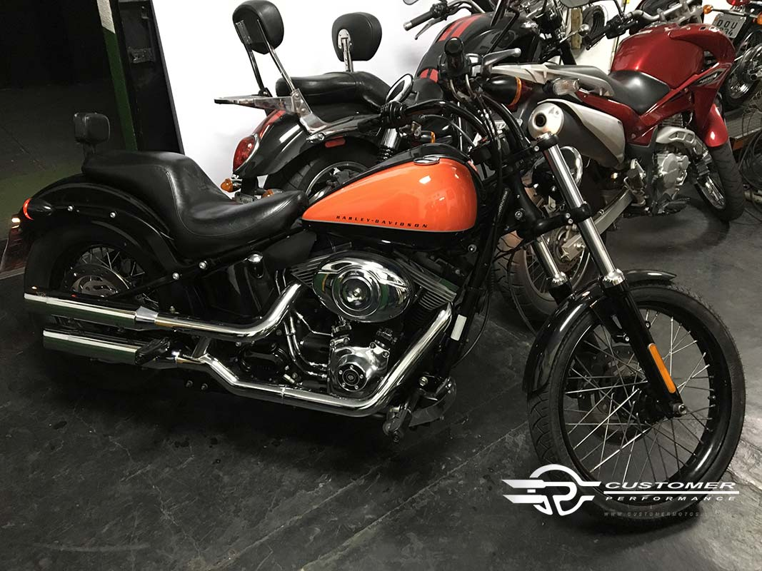"Ponteira Harley Davidson Softail Deluxe Blackline 3"" corte Lateral - Customer"