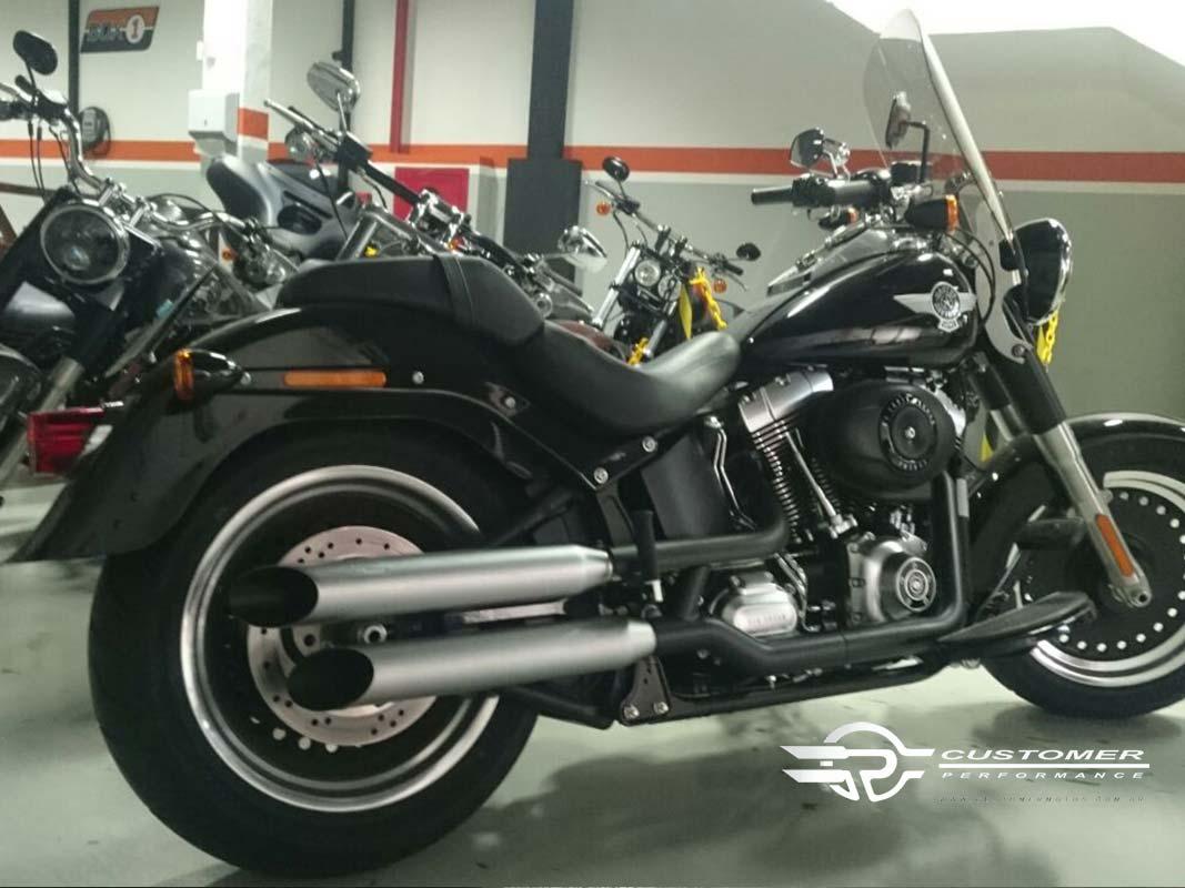 "Ponteira Harley Davidson Fat Boy 2006 em diante 3"" corte Lateral - Customer"