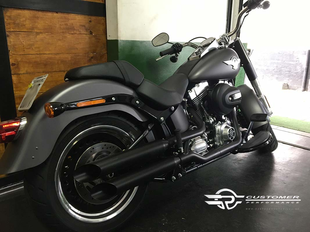 "Ponteira Harley Davidson Fat Boy até 2005 3"" corte Lateral - Customer"