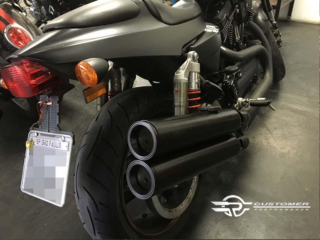 """Ponteira para Harley Davidson Night Rod 06 à 11 3"""".1/2 c/ terminal alumínio corte Reto - Customer"""