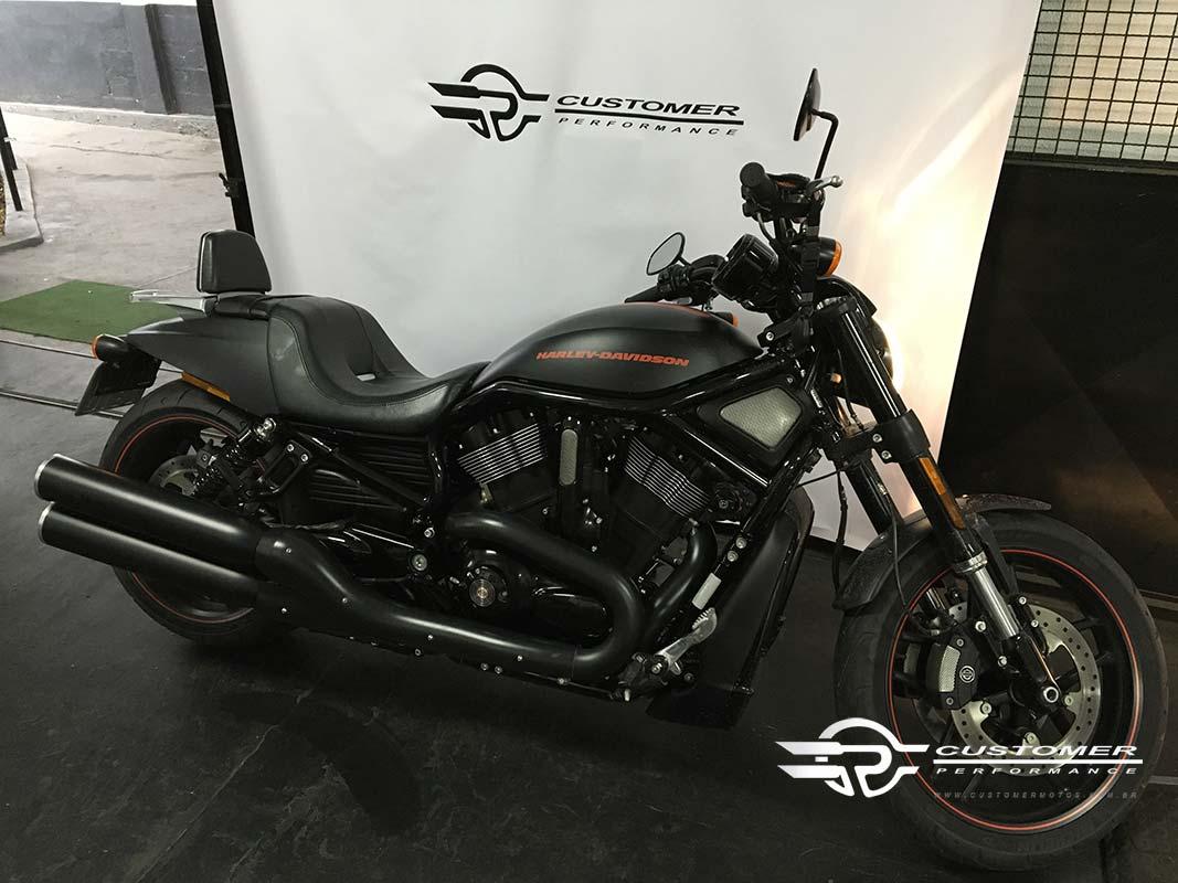 "Ponteira para Harley Davidson Night Rod 2012 em diante 4"" c/ terminal alumínio corte Reto - Customer"