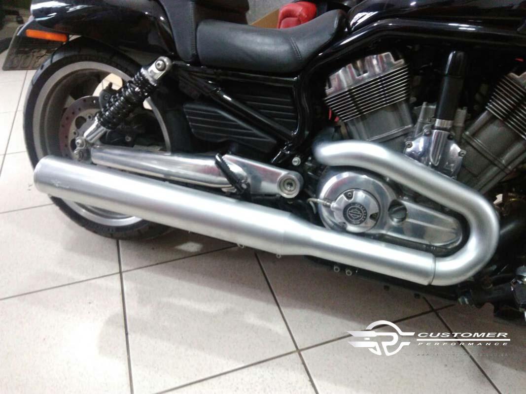 "Ponteira para Harley Davidson V-Rod Muscle 3""1/2 c/ terminal alumínio corte Reto - Customer"