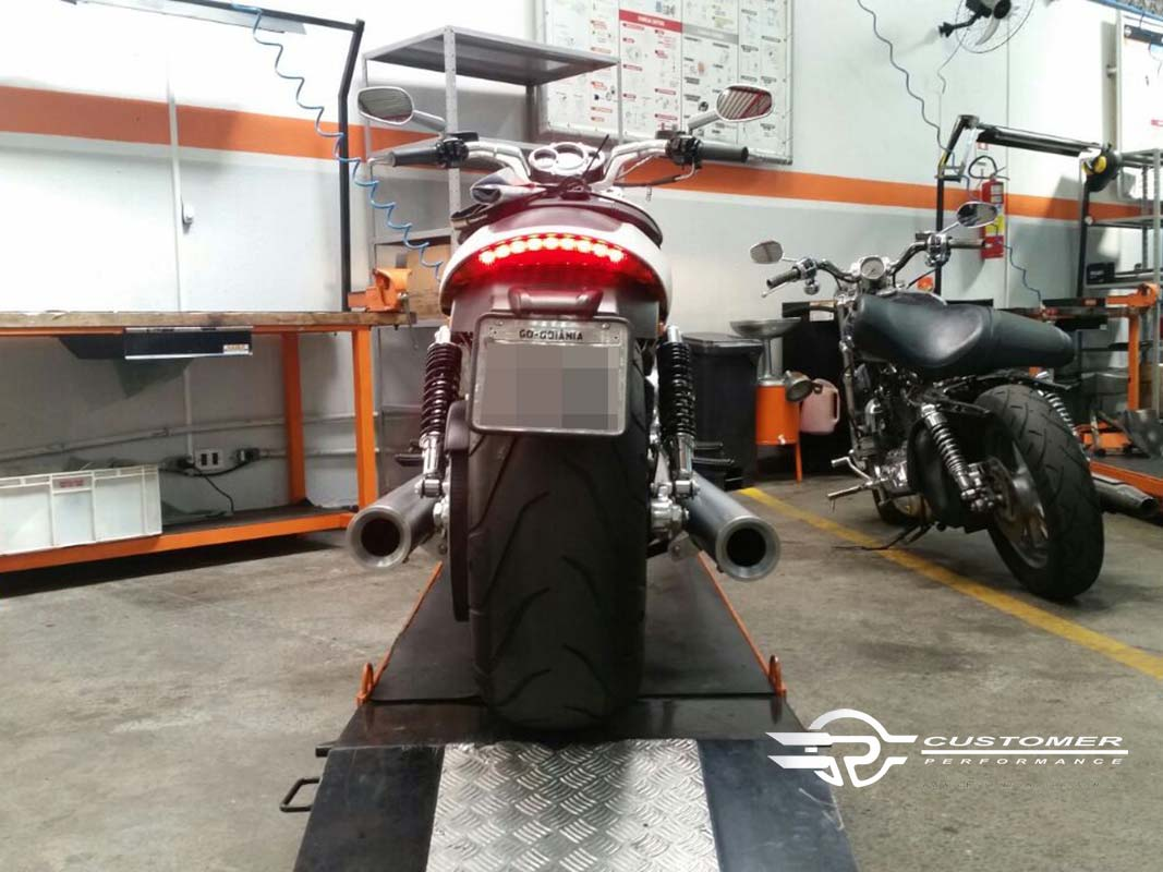 "Ponteira Harley Davidson V-Rod Muscle 4""  c/ terminal alumínio corte Reto - Customer"