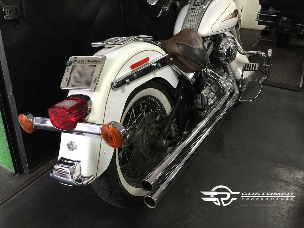 "Escapamento K10 HD Softail Heritage 2"".1/4 corte reto - Customer"