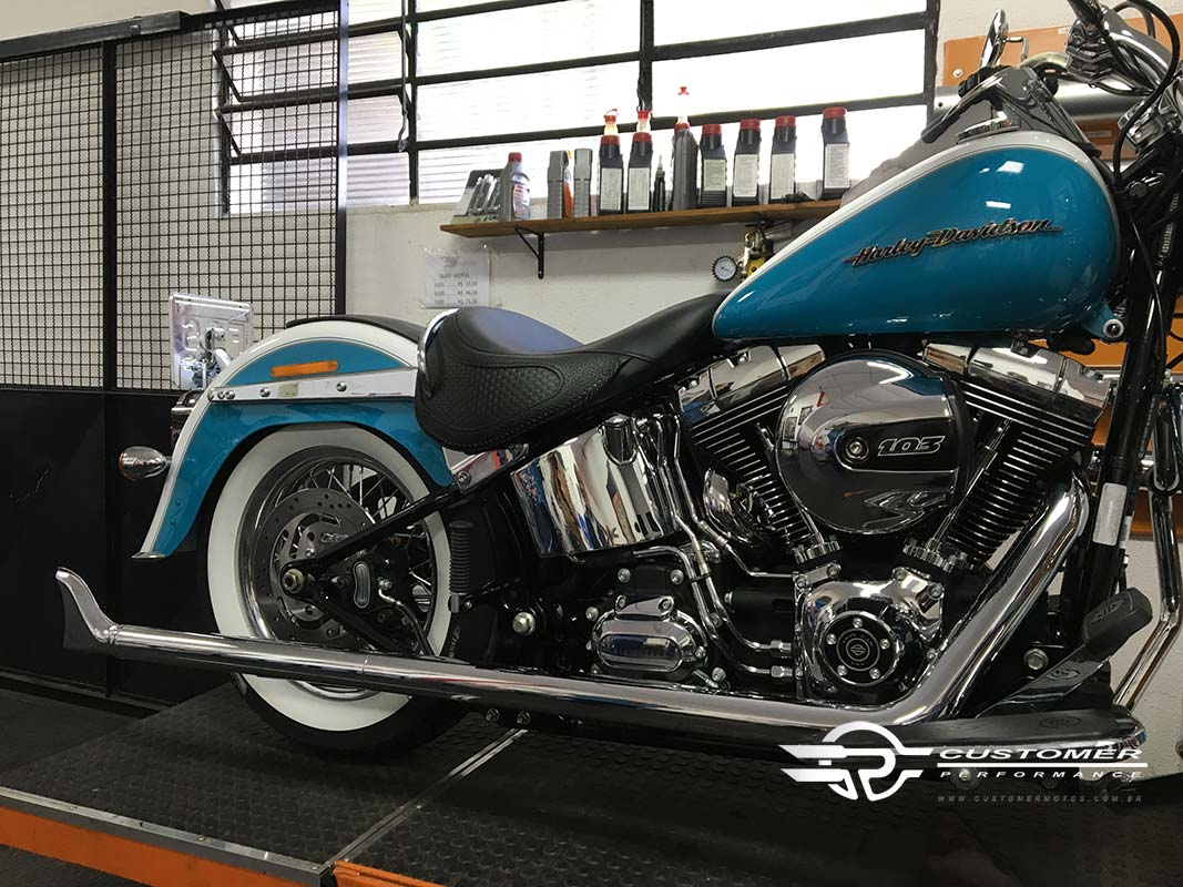 "Escapamento K12 HD Softail Deluxe 2"".1/4 corte reto c/ term. Rabo de Peixe - Customer"